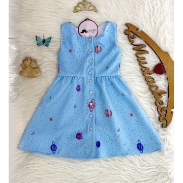 Vestido Infantil Céu de Estrelas SOB ENCOMENDA 15 DIAS ÚTEIS